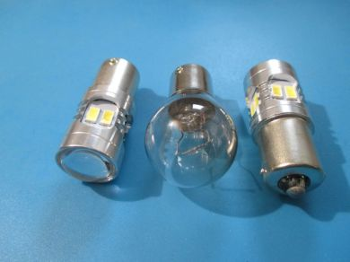 Pair compact high power LED reversing light bulbs